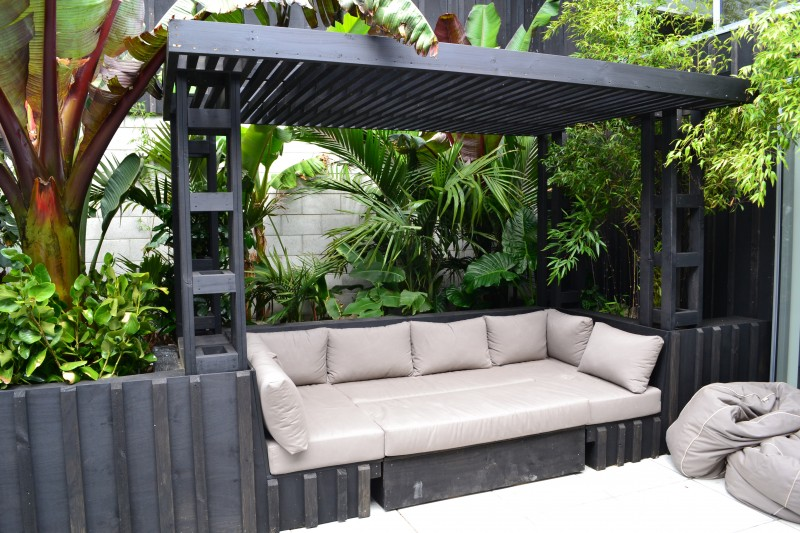 Sub tropical courtyard for Small garden designs nz